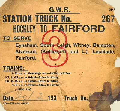 GWR Station truck label