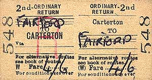 Carterton to Fairford ticket on thelast day of passenger services - 16 June 1962