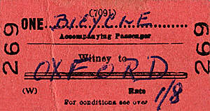 Witney to Oxford bicycle ticket